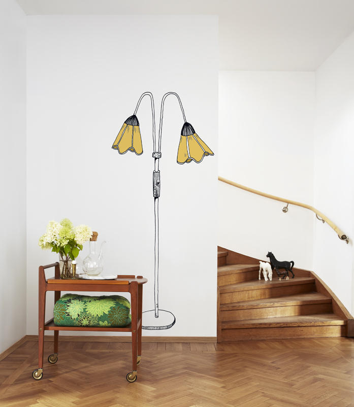 Tapet-fotostat-stof-indretning-boligindretning-wallpaper-lampe