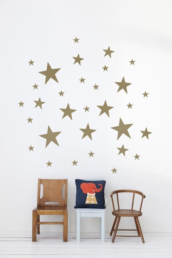 Kids-interior-decoração mural estrelas-estrelas