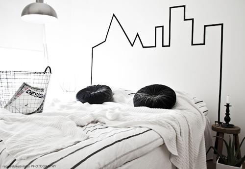 sengegavl-diy-hovedgærde-seng-washi-tape-diy-sovevaerelse-indretning-bolig-seng-maskingtape