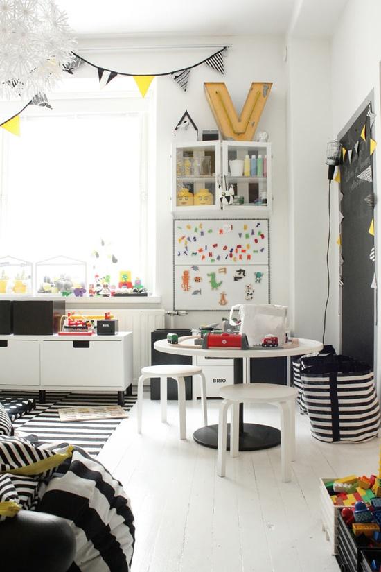 Drengeværelse-indretning-boernevaerelse-sort-hvid