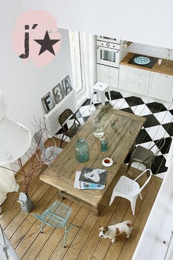 indretning-koekken-kokkengulv-harlekin-harlequin-tern-skak-skakgulv-mal-malede-gulve