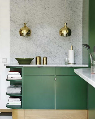 Marble wall in kitchen