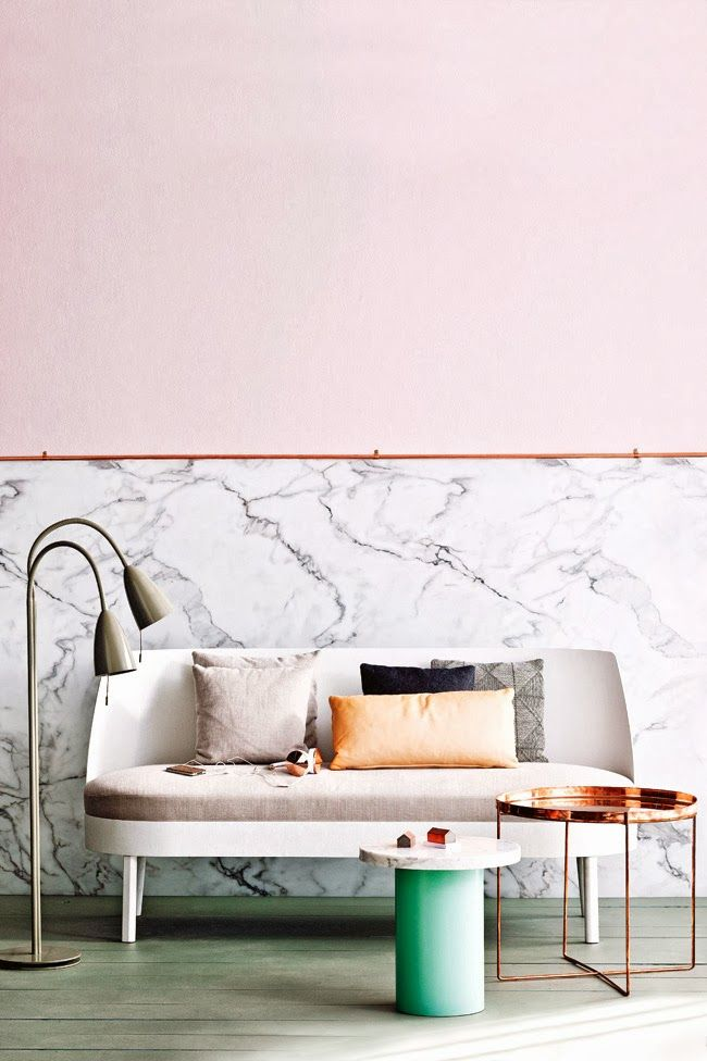Living room with marble and pink wall