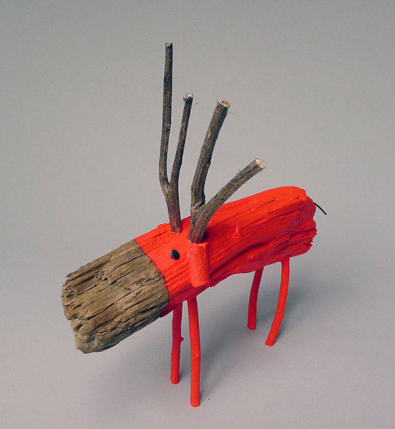 Neon Red Wooden Deer2